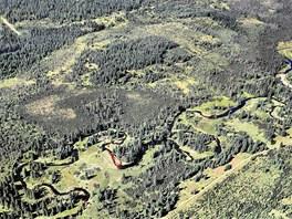 Rašeliniště Jizery z ptačího pohledu.