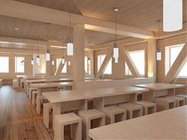 V interiéru použili architekti především dřevo.