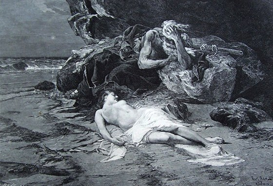Ahasver na břehu mořském, kresbě vytištěná kolem roku 1900