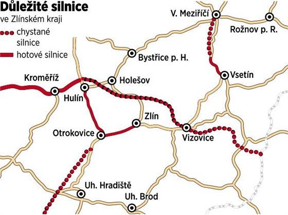 Mapka ukazuje, které silniční tahy ve Zlínském kraji stále čekají na své