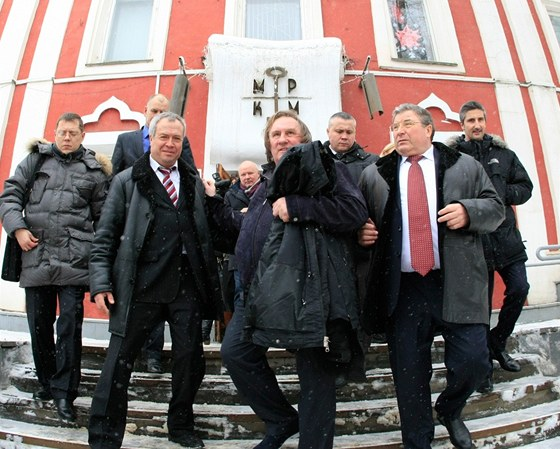 Gérard Depardieu na návštěvě v Saransku.