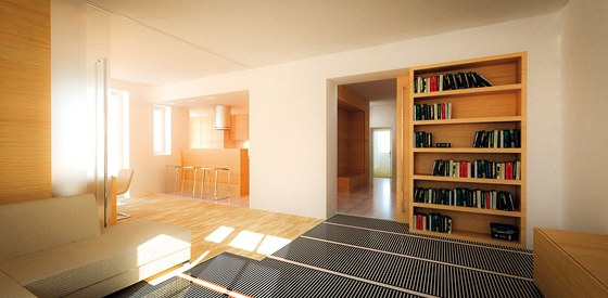 Vizualizace: topné folie Ecofilm F jsou určeny jako podlahové vytápění do