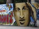 Grafiti s portrétem venezuelského prezidenta Huga Cháveze v ulicích Caracasu
