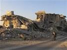 Rozbombardované budovy v syrské provincii Idlíb (1. ledna 2013)