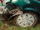 Na Vyškovsku havarovalo na Nový rok auto, po nehodě skončilo v kolejišti.