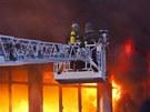 Požár skladu v areálu Svitu ve Zlíně.