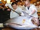 Tuňáka za rekordní cenu v sobotu vydražil prezident společnosti Kiyomura Kijoši