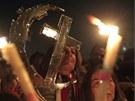 Egyptští koptové slaví na náměstí Tahrír koptské Vánoce ve stejných termínech jako pravoslavní křesťané (6. ledna 2013)