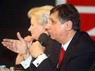 Zuzana Roithová, Jan Fischer a Jana Bobošíková při debatě prezidentských