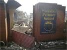 Škola, kterou zničil ohromný požár ve městě Dunalley v Tasmanii.