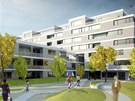 Vizualizace dřevostavby činžovního domu ve vídeňské čtvrti Donaustad