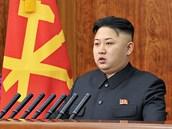 Kim �ong-un b�hem novoro�ního projevu (1. ledna 2013)