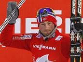Petter Northug je spokojený, proto�e dr�í pr�b�né vedení v Tour de Ski.