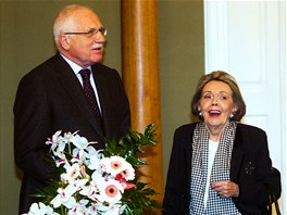 Prezident Václav Klaus blahopřál k 80. narozeninám herečce Jiřině Jiráskové.