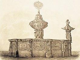Kroc�nova ka�na v Praze na dobov� kresb�