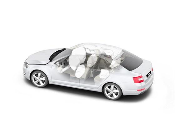 Nová octavia může mít až devět airbagů. V základní výbavě je jich sedm (sedmý