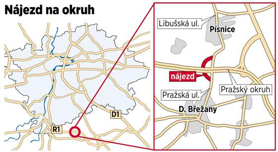 Nájezd na Pražský okruh u Písnice by mohl být otevřen.
