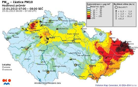 Jak dokládá mapka Českého hydrometeorologického ústavu, smogová situace byla na