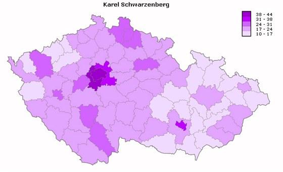 Úspěšnost kandidáta Karla Schwarzenberga v jednotlivých okresech při prvním