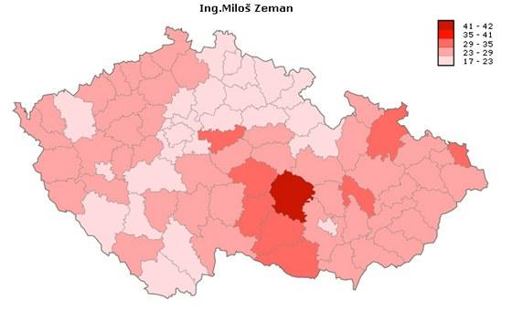 Úspěšnost kandidáta Miloše Zemana v jednotlivých okresech při prvním kole