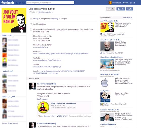 Událost na Facebooku: Jdu volit a volím Karla! K události se přidaly desítky