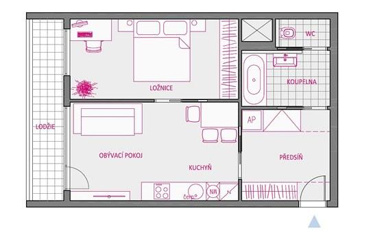 Varianta 3 - úsporu místa zde představují posuvné dveře do stavebního pouzdra
