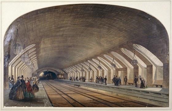 Kresba interiéru stanice Baker Street ukazuje nástupiště a blížící se vlak