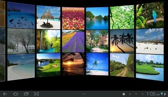 Aplikace Gallery Wall 3D předvádí fotografie uložené vtabletu vefektním 3D