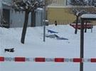 Místo před panelákem v Českých Velenicích, kde spáchal muž sebevraždu (19.