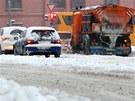 Nový sníh v Českých Budějovicích. (17. ledna 2013)