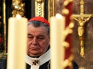 Zádušní mši za herečku Jiřinu Jiráskovou sloužil kardinál Dominik Duka (Praha,...