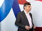Jan Fischer ve svém volebním štábu v pražské v restauraci Avion 58. (12. ledna