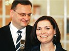 Radka a Petr Ne�asovi na tradi�n�m novoro�n�m ob�d� s prezidentem V�clavem
