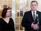 Radka a Petr Nečasovi na tradičním novoročním obědě s prezidentem Václavem...