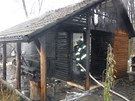 Požár chatky v zahrádkářské kolonii v Břeclavi.