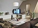 Zařízení interiéru je pojato velmi jednoduše se sázkou na doplňky. Dekorativní
