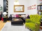 Křeslo a psací stůl jsou koupené na Aukro, kožená sedací souprava v IKEA, retro