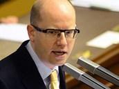 Předseda ČSSD Bohuslav Sobotka při jednání Sněmovny o nedůvěře vládě (17. 1.