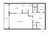 Stávající stav - hlavní obytný prostor musí sloužit i jako ložnice.