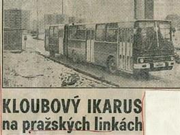 Výstřižek článku z Večerní Prahy, která referovala o zapojení Ikarusů do