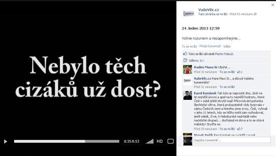 Výřez z facebookového profilu serveru vasevec.cz