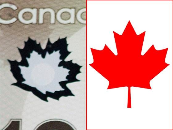 Javorový list na kanadských bankovkách (vlevo) a znak ze státní vlajky.