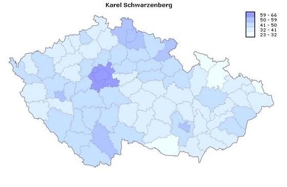 Úspěšnost Karla Schwarzenberga v jednotlivých okresech ve druhém kole