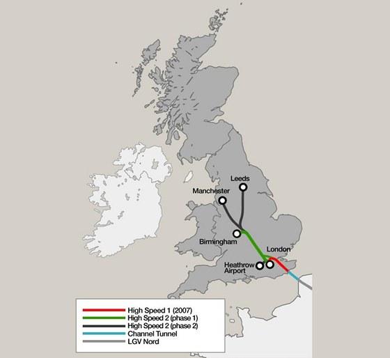 Mapa plánu britské vysokorychlostní železnice.