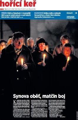 Tituln� strana speci�ln�ho vyd�n� MF DNES k t��d�ln�mu dramatu Ho��c� ke�