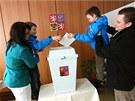 Druh� kolo prezidentsk�ch voleb v Nov�m Vesel� na Vyso�in�. (25. ledna 2013)
