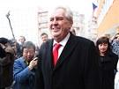 Miloš Zeman odevzdal hlas v pražských Stodůlkách. (25. ledna 2013)