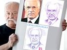 Předlohou pro známku s prezidentem Klausem byla pro grafika Oldřicha Kulhánka oficiální fotografie (vlevo nahoře) . Z ní Kulhánek nakreslil portrét (vpravo nahoře). Grafik ho pak překreslil do jednotlivých linií (dole), které se pak vyrývají do ocelové desky.