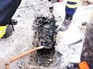 Vyproštění psa z betonové kanálové roury ve Svojanově na Olomoucku