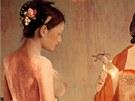 ��nsk� kr�ska na obraze z muzea um�n� v Kantonu